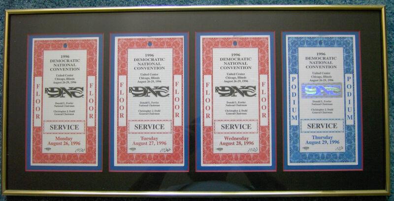 Framed 1996 Democratic National Convention Floor & Podium Credential Passes