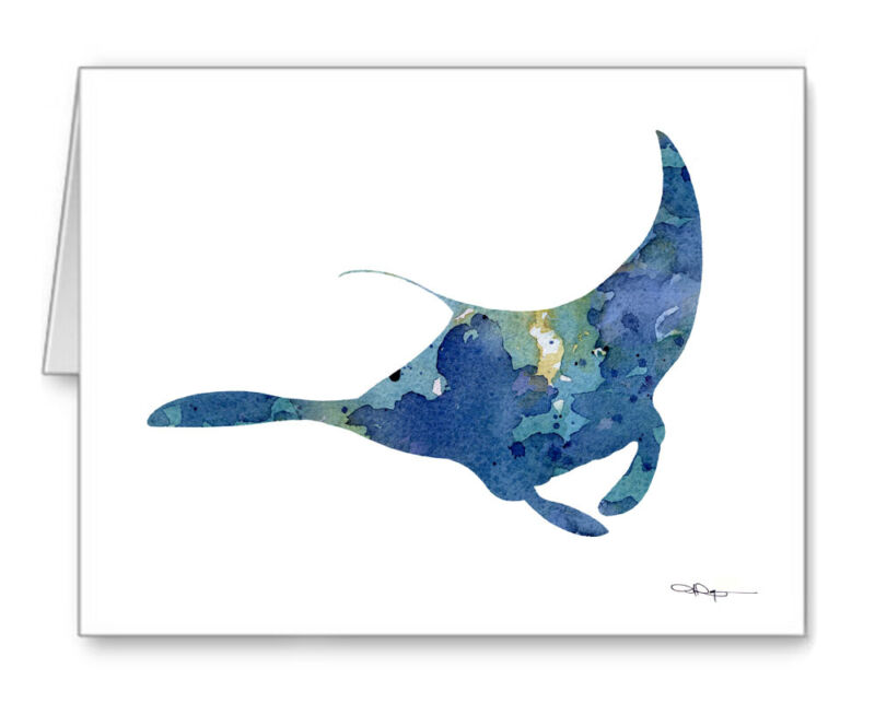 Manta Ray Note Cards With Envelopes