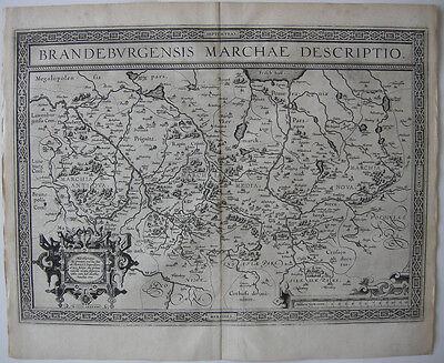 Mark Brandenburg Orig Kupferstichkarte Olim Ortelius 1588 pommern