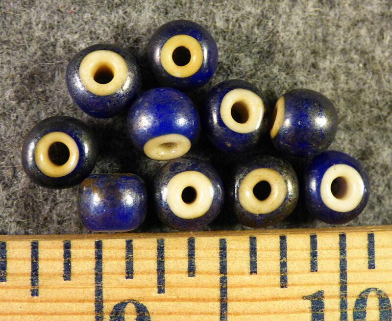 Original Plains Indian Blue White Heart Trade Beads Venetian Pre1800 Large Size