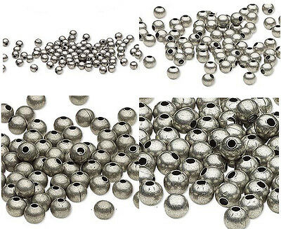 - 100 Antique Silver Finished Steel Metal Round Spacer Beads 2.5mm 3mm 4mm 6mm 8mm
