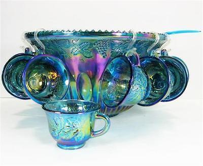 Indiana Glass Blue Carnival Harvest Princess Grape Punch Bowl Cups 26pc Set Box