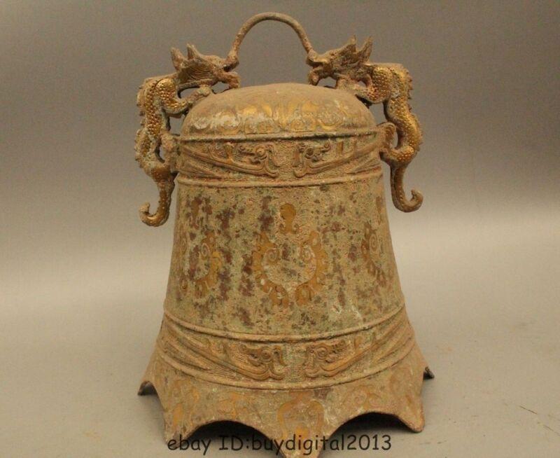"11"" China Chinese Temple Buddhism Bronze Gild Hang Two Dragon Zhong Bell"