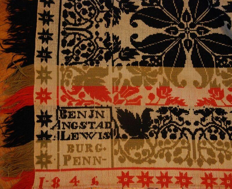 1846 COVERLET LEWISBURG PENNSYLVANIA WOOLEN WOVEN  ~ SIGNED ANGSTAD JACQUARD