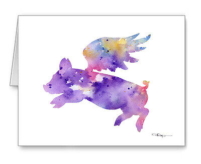 FLYING PIG Note Cards With Envelopes