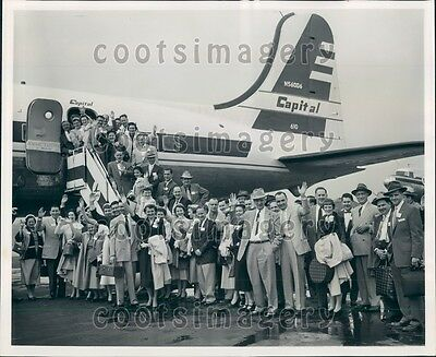 1955 General Electric Dealers Contest Winners Capital Airline Plane Press Photo