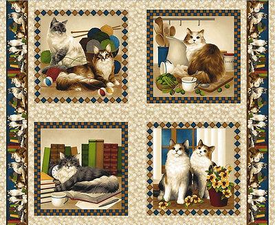 Baumwolle Kissen Panel (Patchwork Stoff Baumwolle Panel Four Paws Katzen Kätzchen Kissen beige 90x112 cm)