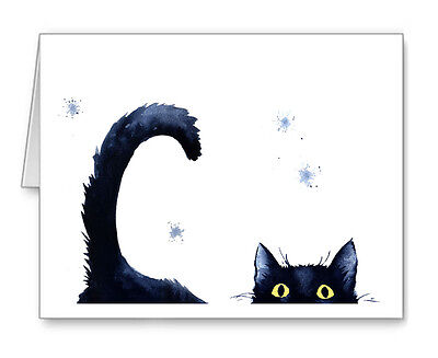 SNEAKY BLACK CAT note cards by watercolor artist DJ Rogers