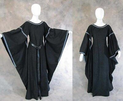 Black Bell Sleeve Medieval Dress Cosplay Gown Game Of Thrones Got Larp L Xl 1X
