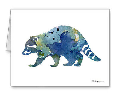 Blue Raccoon Note Cards With Envelopes