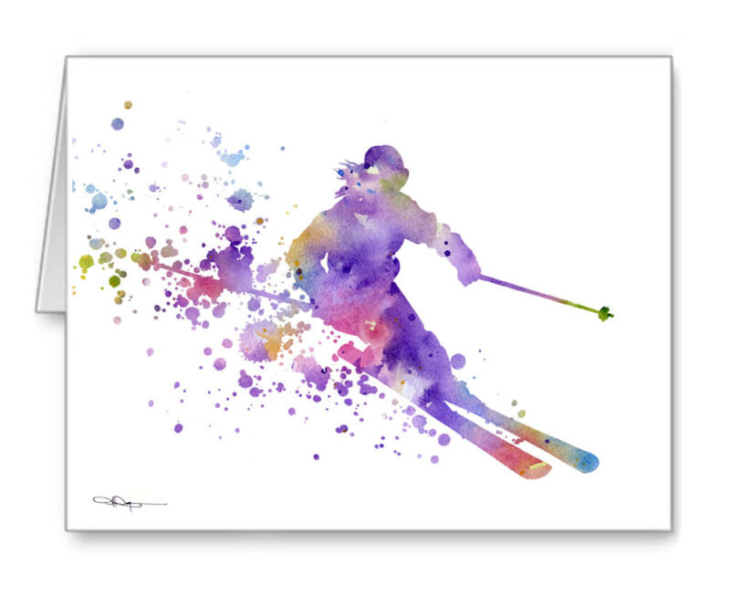 Skier Note Cards With Envelopes