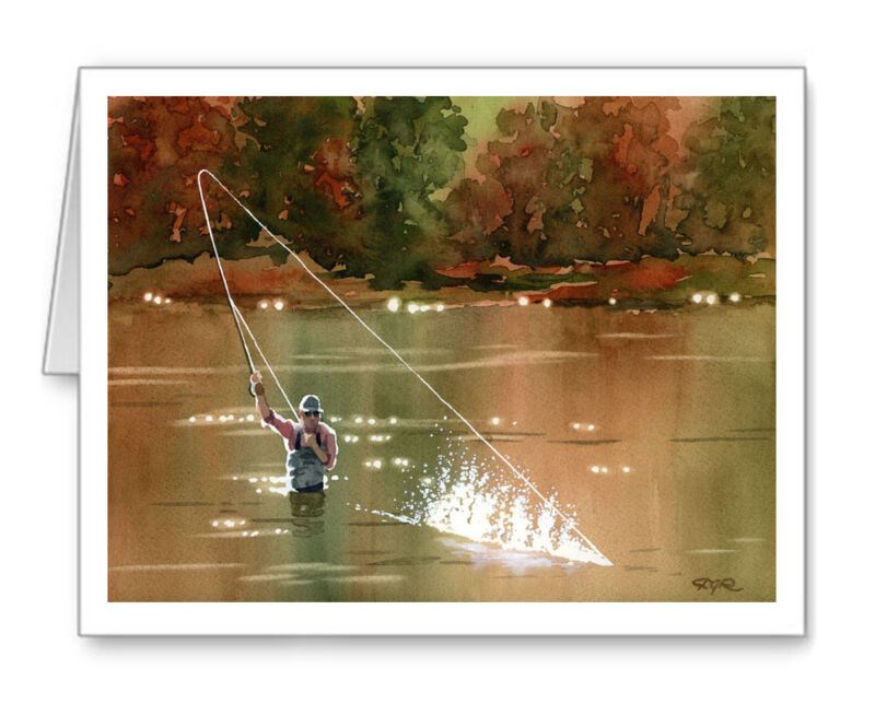 """Fly Fishing """"Hooked Up III"""" Note Cards With Envelopes"""