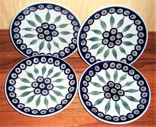 "Boleslawiec Polish Pottery Salad Plate SET of 4 7""  PEACOCK NEW"