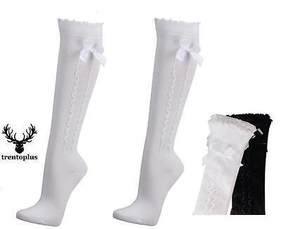 Trachtenstrümpfe Damen weiß o.schwarzTrachten Knie Strümpfe Socken Oktoberfest