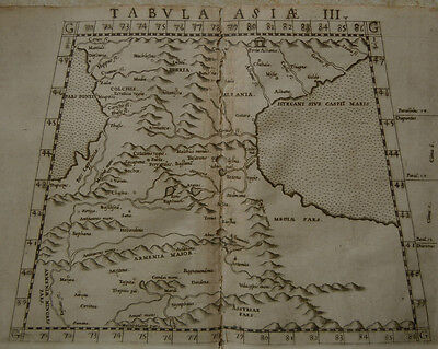 1561 Genuine OLD Antique map of Southern Russia, Caucasus. Ruscelli