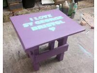 """I Love St George"" stenciled pallet garden table"