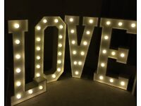 Giant Light Up LOVE Letters for hire