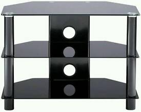 TV stand black glass with silver stands. for Sale £30