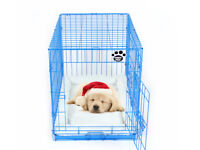 36 inch dog cage with faux sheepskin bed.