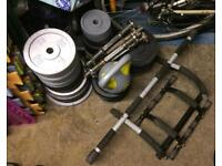 188kg metal weights, dumbbells + extras!!