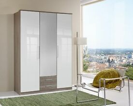 **14-DAY MONEY BACK GUARANTEE!** Luxury Gamma 3 Door or 4 Door High Gloss Wardrobe - SAME DAY!