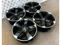"NEW 19"" AUDI RS ROTOR STYLE ALLOY WHEELS - GLOSS BLACK ALSO- 5 x 112"
