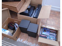 ONE LOT of some DVD, VCR Players, Speakers, Old Cameras, DVDS FREE for Collection!