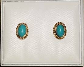 Pair 14ct Yellow Gold Oval Turquoise Stud Earrings