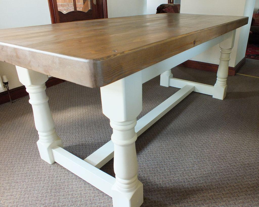 Rustic CreamStunning 7ft Rustic Shabby Chic Pine Refectory Farmhouse Dining T