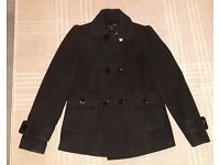 Ladies Smart Black Coat Size 10 Dorothy Perkins £4