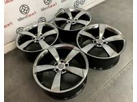 """GENUINE 20"""" AUDI RS ROTOR ALLOY WHEELS - ALSO AVAILABLE WITH TYRES - 5 x 112 - SHADOW CHROME"""