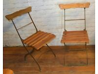 6 available French metal folding chairs vintage garden industrial seating wedding restaurant cafe