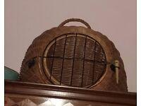 Vintage wicker cat basket