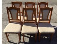 SIX SOLID PINE UPHOLSTERED DINING CHAIRS