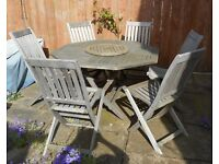 TEAK OCTAGONAL GARDEN TABLE, LAZY SUSAN & 6 CHAIRS