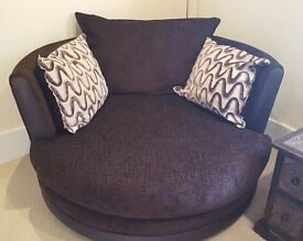 DFS Sofa Set - Cuddle Chair and Sofa and Foot Stool