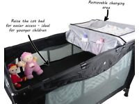 Travel cot, baby bed, changing station, camping, first bed.