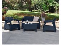 The Corfu lounge set includes a garden table and chairs