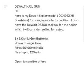 Dewalt cordless framing nail gun