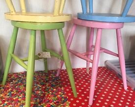 UP CYCLED SET OF WOODEN STOOLS X 4