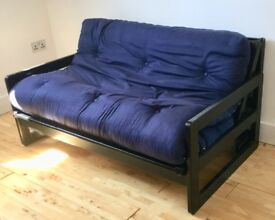 Futon, double bed size, strong wooden frame, recent new mattress