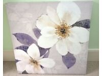 White/Lilac Floral Framed 600 x 600 Canvas