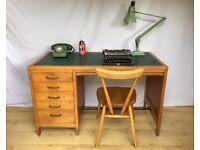 Vintage oak old school industrial 1950s 1960s desk