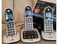 BT 4600 Cordless phone & answerphone set of 3 (Still under warranty)