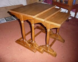 Nest of three solid oak occasional tables very good condition mid oak colour