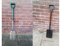 garden fork + spade