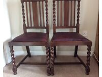 PAIR OAK DINING CHAIRS