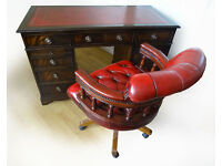 Antique Edwardian Flame Mahogany Leather Top Pedestal Office Writing Desk & Captains Chair