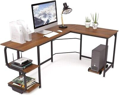 L Shaped Computer Desk Adjustable Corner Gaming Pc Table Home Office With Shelf