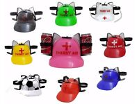 *** SALE Thirst Aid Beer Drinking Helmet Can Holder Hat Game Drink Soda Hen Party Stag Do ***